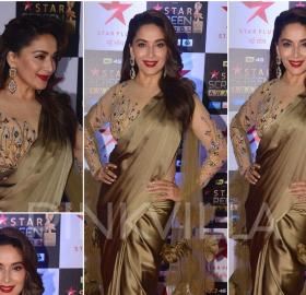 Celebrity Style,manish malhotra,madhuri dixit,ami patel,Star Screen Awards 2017