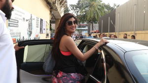 Shilpa Shetty Kundra and her family were spotted outside a cinema in the city