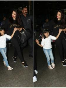 Aishwarya Bachchan snapped with her daughter at the airport