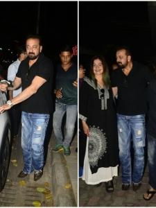 Sanjay Dutt snapped with Mahesh Bhatt and Pooja Bhatt