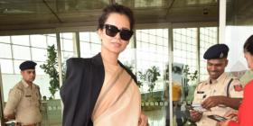 Airport Diaries: Kangana Ranaut adds a contemporary twist to a traditional saree & & it's a winner