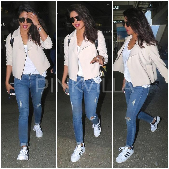 Airport Style Priyanka Chopra In In Theory And Adidas Pinkvilla