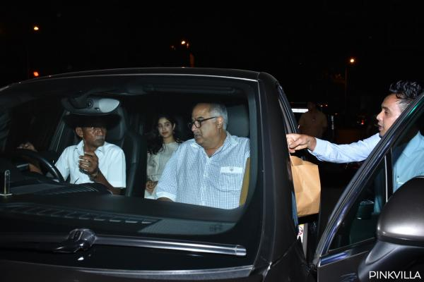 Boney Kapoor's dinner outing with daughter Janhvi Kapoor