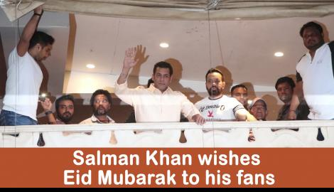 Salman Khan wishes his fans on the occasion of Eid outside his Mumbai residence