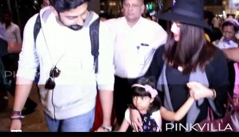 Spotted! Abhishek, Aishwarya with Aaradhya at mumbai airport