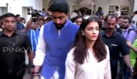 Big B, Abhishek-Aishwarya attend late Om Puri's prayer meet