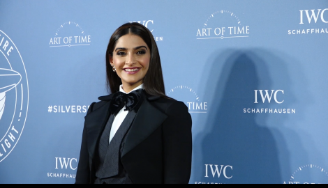 Sonam Kapoor Ahuja stuns in a classic black pantsuit as she attends an event in the city