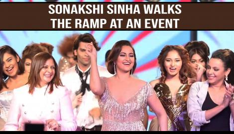 Sonakshi Sinha stuns in a shimmery outfit as she walks down the ramp at an event