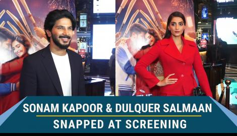 The Zoya Factor actors Sonam Kapoor and Dulquer Salmaan attend a special movie screening