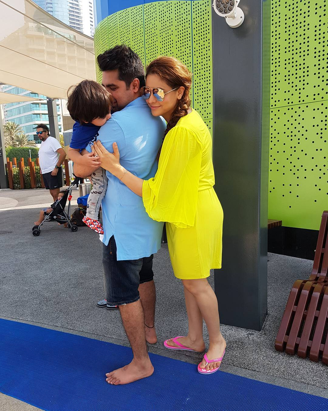 Aamna Sharif Along With Her Husband And Son Make For A Picture