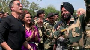 Akshay Kumar and Parineeti Chopra shake a leg with BSF jawans in New Delhi ahead of Kesari's release; WATCH