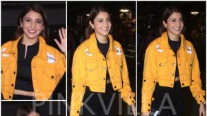 Airport Style : Anushka Sharma in Kanika Goyal
