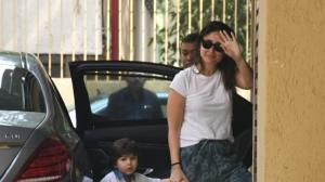 PICS: Kareena Kapoor Khan and Taimur Ali Khan twin in white as they get papped outside Karisma Kapoor's house