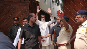 Amitabh Bachchan along with his family greets fans on his 77th birthday