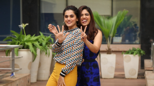 Taapsee Pannu and Bhumi Pednekar get goofy as they promote Saand Ki Aankh
