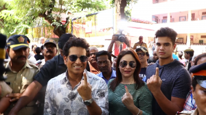Sachin Tendulkar casts his vote with his family; Madhuri Dixit gets spotted at the polling booth
