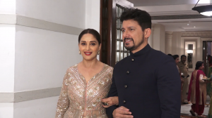 Madhuri Dixit and Rekha make a stunning appearance at the wedding reception