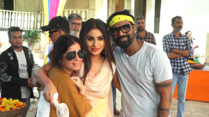 Mouni Roy stuns in white in the behind the scenes from a Holi song shoot