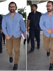 Aamir Khan gets snapped by the paparazzi at the airport