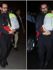 Aamir Khan gets snapped by the paps with son Azad at the airport
