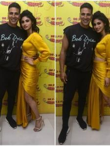 Akshay Kumar and Mouni Roy promote their upcoming film Gold in style