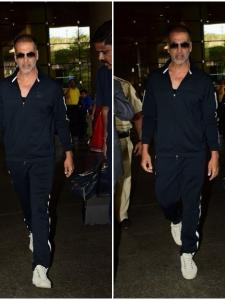Akshay Kumar snapped at the airport with his family