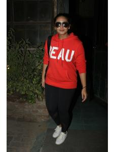 Huma Qureshi clicked outside a cafe in the city