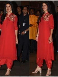 Katrina Kaif looks pretty in red as she attends Ganesh Chaturthi celebrations
