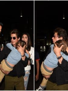 Shah Rukh Khan and AbRam Khan were spotted at the airport