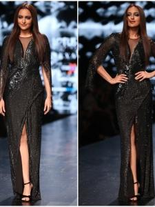 Sonakshi Sinha walks the ramp for designer Rohit Gandhi and Rahul Khanna