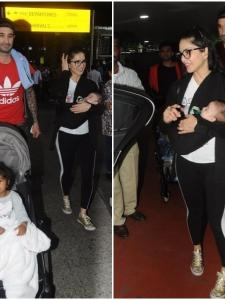 Sunny Leone snapped with her kids and hubby at the airport