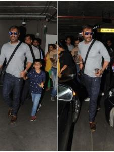 Ajay Devgn snapped at the airport along with his kids