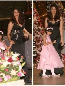 Aishwarya Bachchan and Aaradhya snapped at the pre-engagement bash of Akash Ambani and Shloka Mehta
