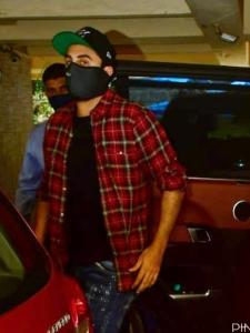 Ranbir Kapoor keeps it stylish in a checkered shirt and jeans as he is snapped outside a dubbing studio