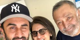 Rishi Kapoor receives a warm welcome from Ranbir Kapoor & Riddhima Kapoor Sahni as he returns home from the US