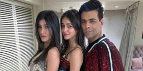 'Millennials' Ananya Panday & Shanaya Kapoor shine on as they pose with Karan Johar; See PIC