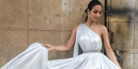 PHOTOS: Malaika Arora looks dreamy as she poses in a pearl white gown at the promo shoot of a reality show