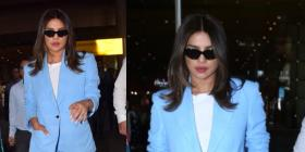 Priyanka Chopra Jonas makes a splash in a chic sky blue pantsuit at the airport; Yay or Nay?