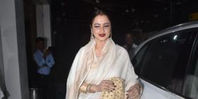 PHOTOS: Bollywood's own diva, Rekha looks mesmerising in a white saree as she attends a movie screening