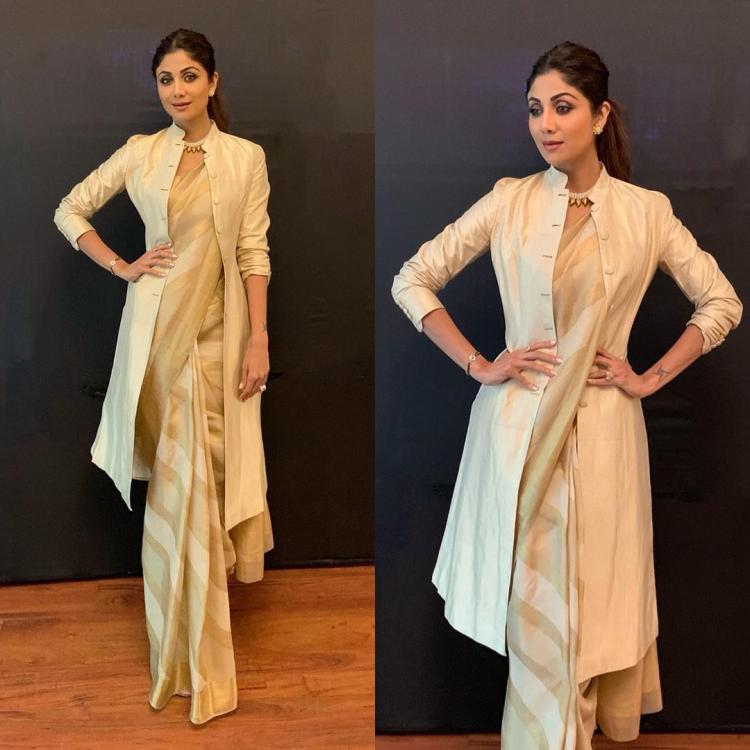 Shilpa Shetty adds a twist to her gorgeous saree yet again; Check it out