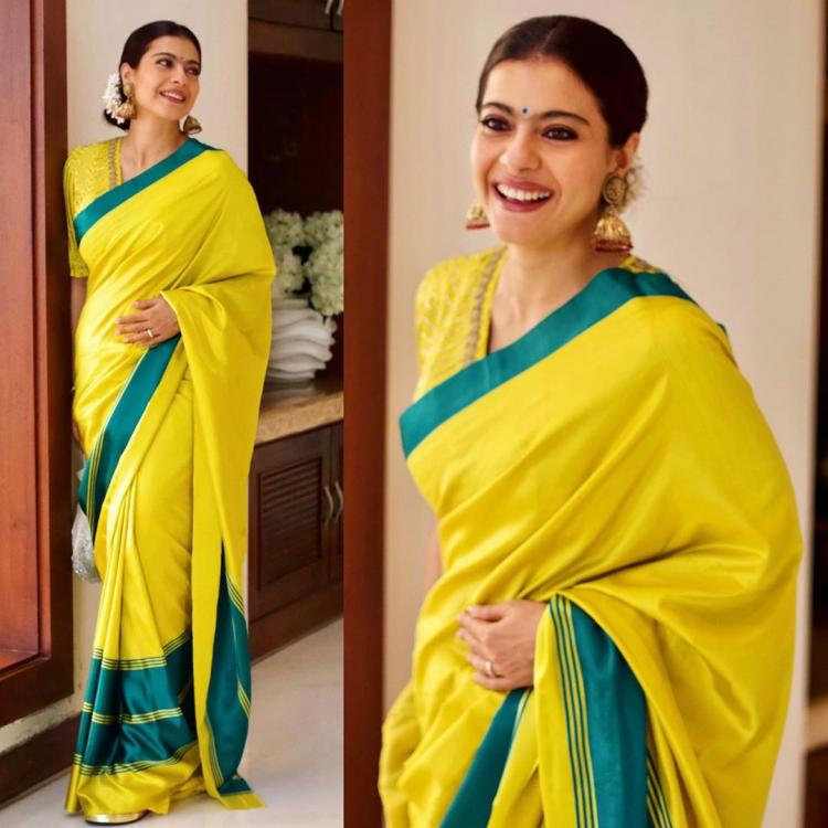 Kajol shows us how to do the traditional look right in a stunning silk saree; See Pics