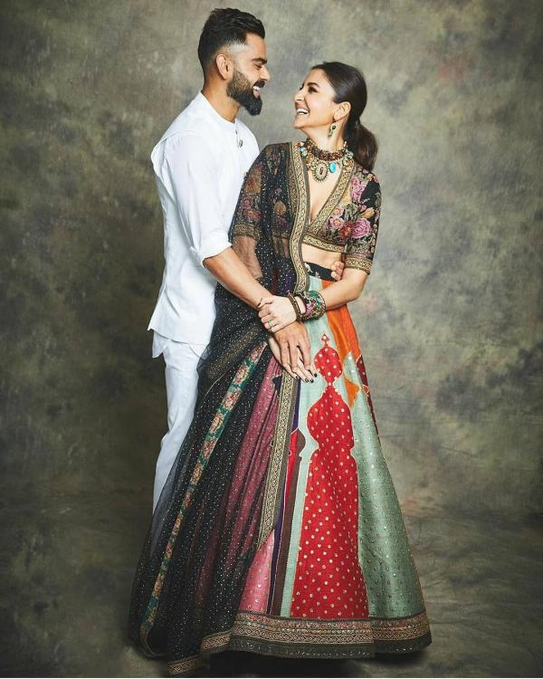 Diwali 2019: Anushka Sharma perfectly compliments hubby, Virat Kohli in a colourful Sabyasachi ensemble