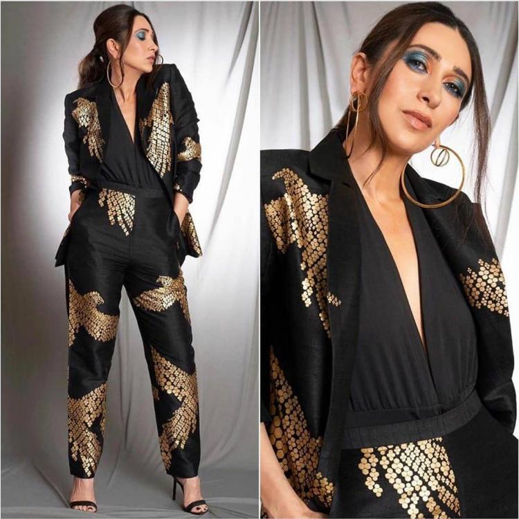 Karisma Kapoor shows you how to wear modern attire to a wedding sangeet and be comfortable yet stylish