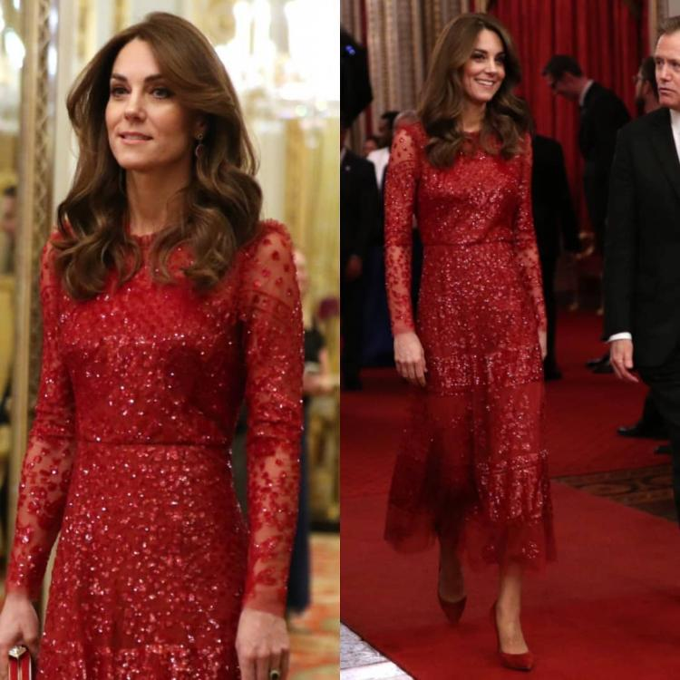 Kate Middleton stuns in a shimmery evening dress as she hosts a reception at Buckingham Palace