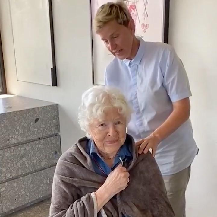 Ellen DeGeneres cuts her mom's hair on the occasion her 90th birthday