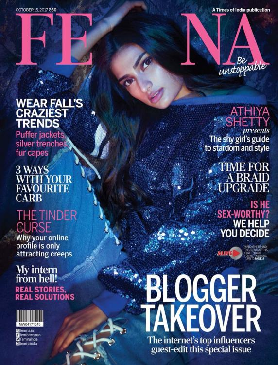 f0e983bb459d57 Athiya Shetty is ready for the party season on the cover of Femina October  2017