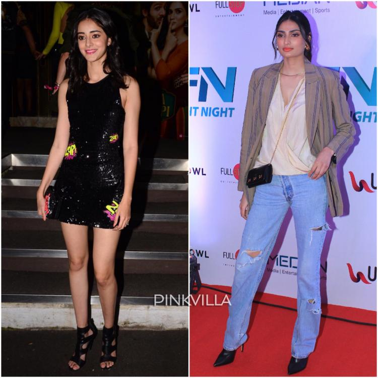 Athiya Shetty and Ananya Panday attended two events in Mumbai last night, Matrix Fight Night and Luka Chuppi Success Bash.