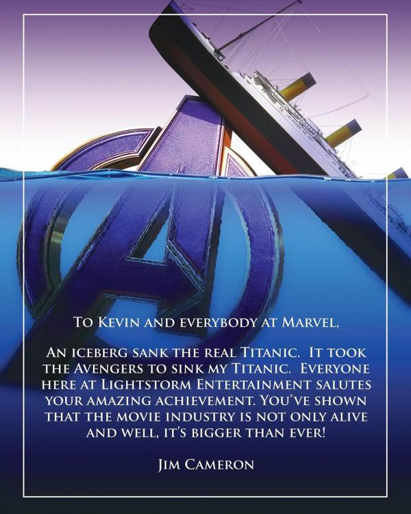 James Cameron tipped his hat to Avengers: Endgame for dethroning Titanic's lifetime box-office collection.
