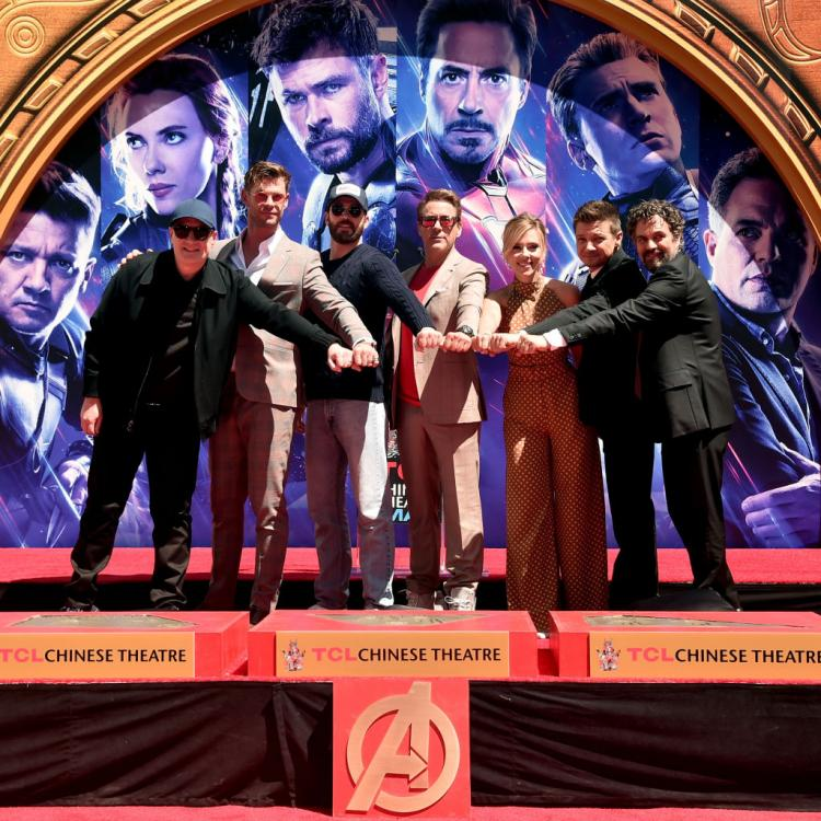 The Avengers: Endgame cast had their handprints imprinted at Hollywood's Chinese Theatre.