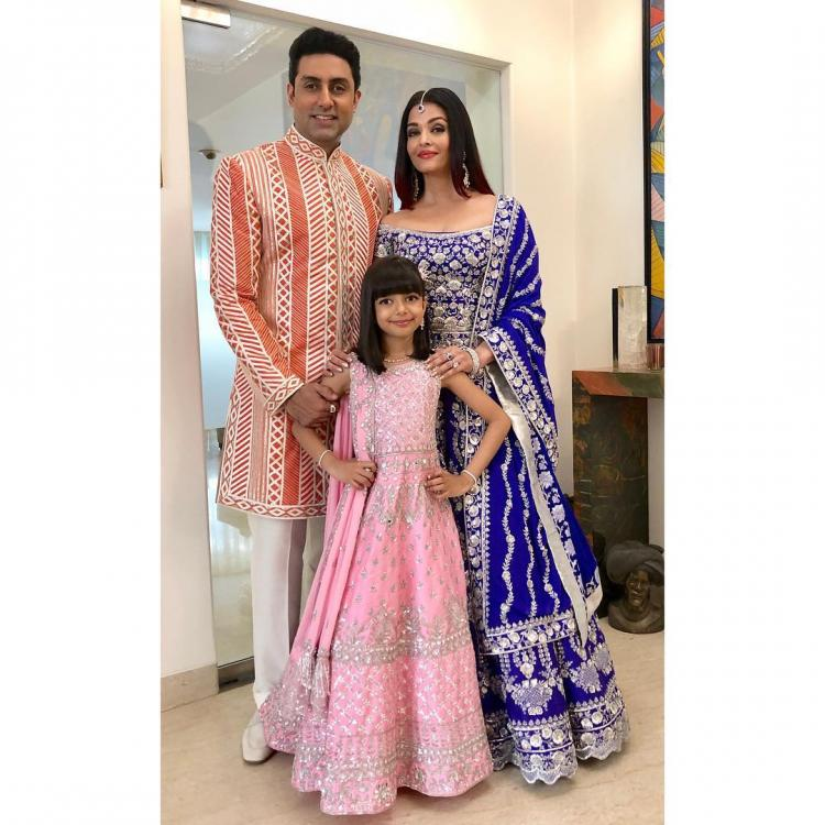 Aishwarya Rai Bachchan with Aaradhya & Abhishek make for a happy family pic at Shloka & Akash Ambani's wedding